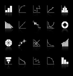 Diagram and graph icons with reflect on black vector image vector image