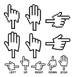 Direction hand cursor icons vector image