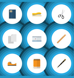 Flat icon tool set of clippers copybook sheets vector