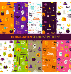 halloween holiday seamless patterns vector image vector image