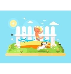 Little boy in garden pool having fun vector image vector image