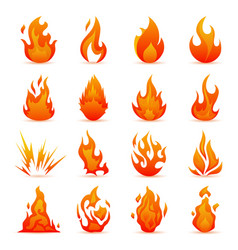 set of fire and flame icons colorful vector image