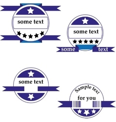 Set of four round logos with ribbons vector image