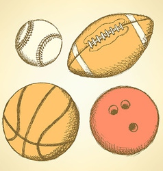 Sketch bowling ball in vintage style vector image
