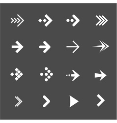 white arrows set on a black background vector image vector image