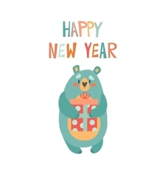 Wild bear with Christmas gift vector image vector image