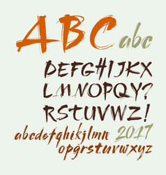 Acrylic brush style hand drawn alphabet vector