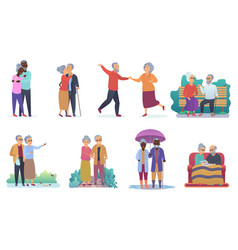 Active lifestyle old grandparents elderly people vector