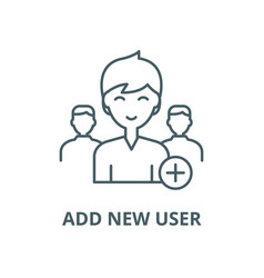 add new user line icon outline concept vector image