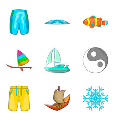 Aqua aerobics icons set cartoon style vector