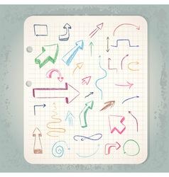 Arrows on vintage notepad vector