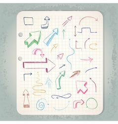 arrows on vintage notepad vector image