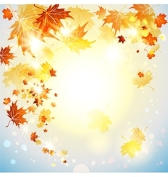 Background with flying autumn leaves vector