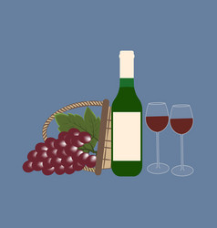 bottle wine and grapes vector image