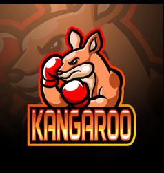 Boxing kangaroo mascot esport logo design vector