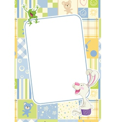 Boys childrens frame with rabbit and frog vector
