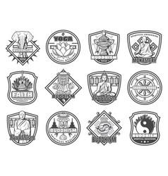 Buddhism religion symbols and buddha vector