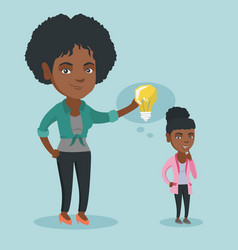 business woman giving idea bulb to her partner vector image
