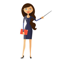 businesswoman or teacher with a pointer vector image