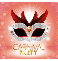 carnival party cute mask red feathers pink bright vector image
