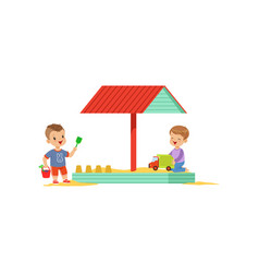 Cartoon kids characters playing in wooden sandbox vector