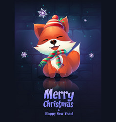 cartoon the funny fox greeting vector image