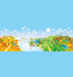 Change of seasons seasons in landscape vector