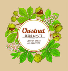 Chestnut branches frame on color background vector