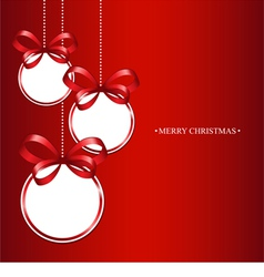 Christmas balls on a red background vector image