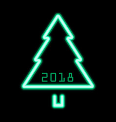 christmas tree green neon sign 2018 vector image