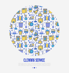 cleaning service concept in circle vector image