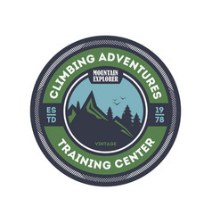 Climbing training centre vintage badge vector
