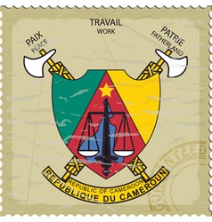 Coat of arms of Cameroon on the old postage stamp vector image vector image