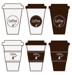 coffee paper cups set simply blank coffee to go vector image