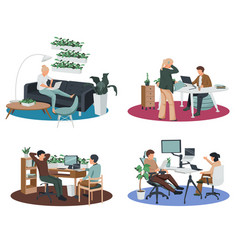contemporary workspace flat set vector image