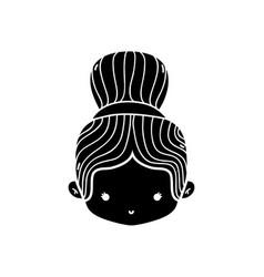 Contour girl head with bun hair design vector