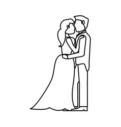 Couple embraced wedding romantic outline vector