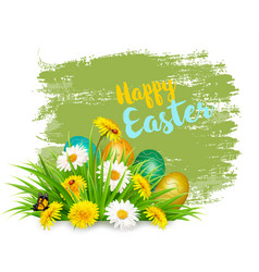 easter holiday background with colorful eggs vector image