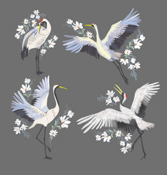 embroidery with crane bird fashion decoration vector image