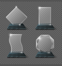 Empty glass trophy awards set vector