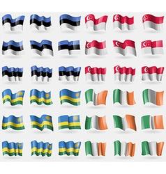 Estonia Singapore Rwanda Ireland Set of 36 flags vector
