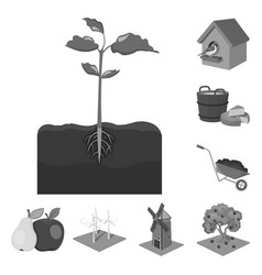 Farm and agriculture monochrome icons in set vector
