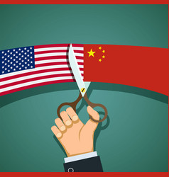 Flags us and china vector