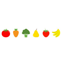 fruit berry vegetable icon set line tomato carrot vector image