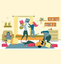 girls having pajama party fighting with pillows vector image