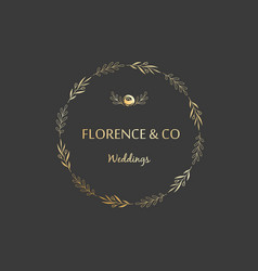 golden floral wreath made of branches leaves and vector image