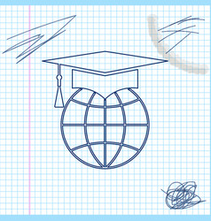 graduation cap on globe line sketch icon isolated vector image
