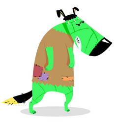 Halloween dog character in costume of vector