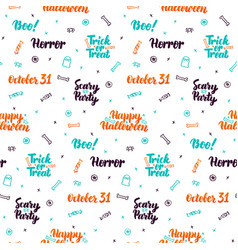 halloween lettering seamless pattern vector image