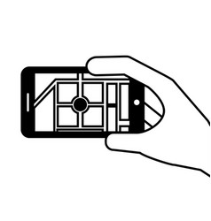 hand holding smartphone gps navigation map route vector image